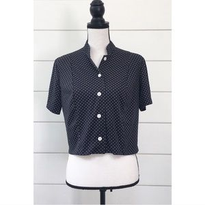 Vintage 70s Cropped Polka Dot Button Up Top
